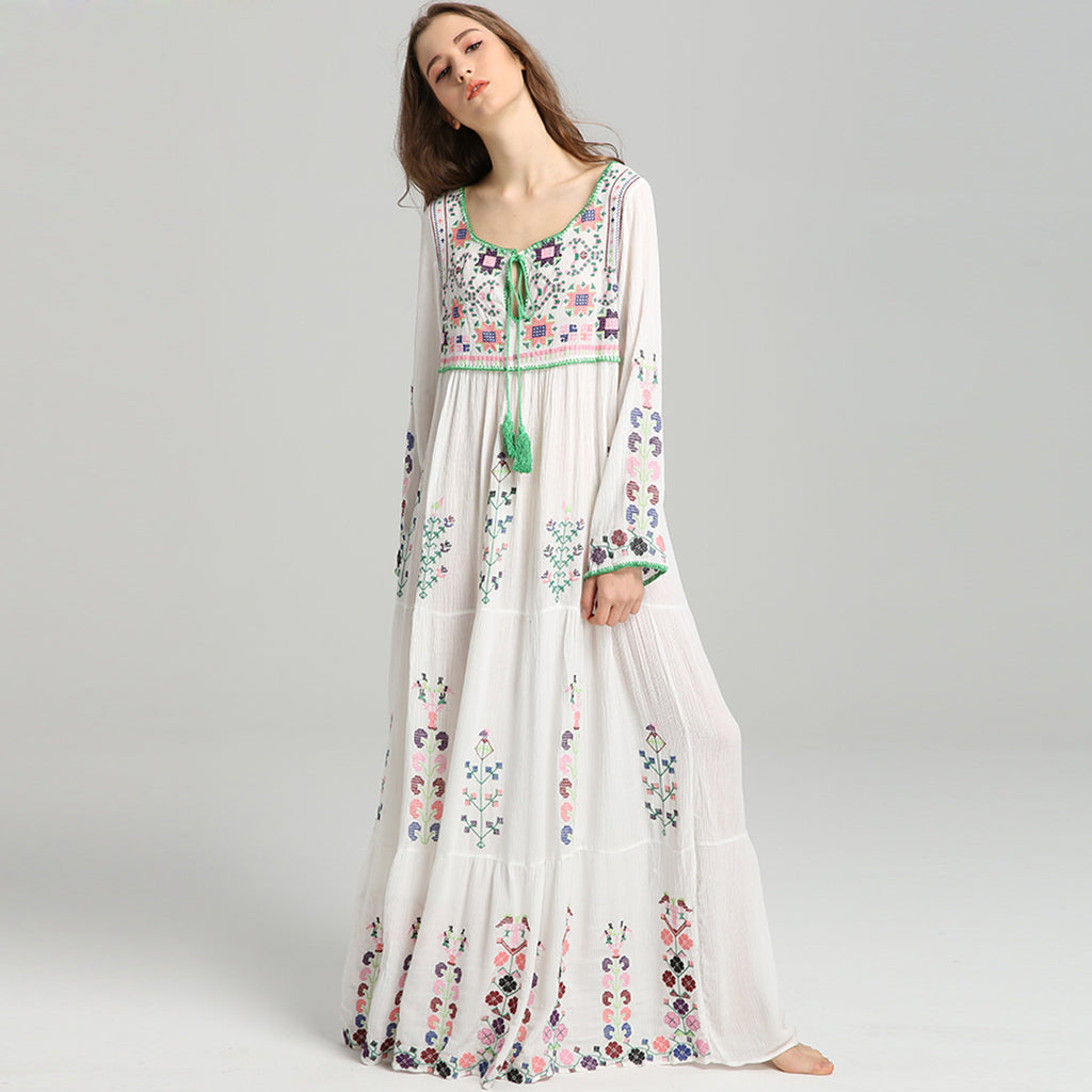 dff4210d23a4 Floral Embroidery Maxi Dress Women Tassel V-Neck Long Sleeve 2018 Summer  Autumn Girls Vintage. Hover to zoom
