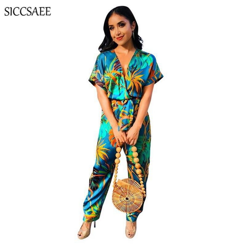 efc5cc0ed8 Floral Print Jumpsuits And Rompers For Women Wrap Overalls Loose With Sashes  Retro Vintage Bohemian Style ...