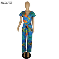 b8e707e674c1 ... Floral Print Jumpsuits And Rompers For Women Wrap Overalls Loose With  Sashes Retro Vintage Bohemian Style