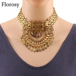 Florosy Brand Vintage Alloy Metal Choker Necklace For Women Collar Chunky Statement Pendant Ethnic Handmade Necklace Jewelry