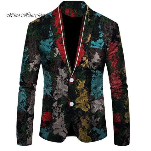 Flower Blazer Men Blazer Slim Fit Fancy Blazers Suit Jacket Africa Tops Coat Wedding Dress Suit Casual African Men ClothesWYN510