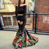 Flower Printed Black Mermaid Two Pieces Prom Dresses with Long Sleeves Off the Shoulder Satin Floral Evening Gown robes de bal
