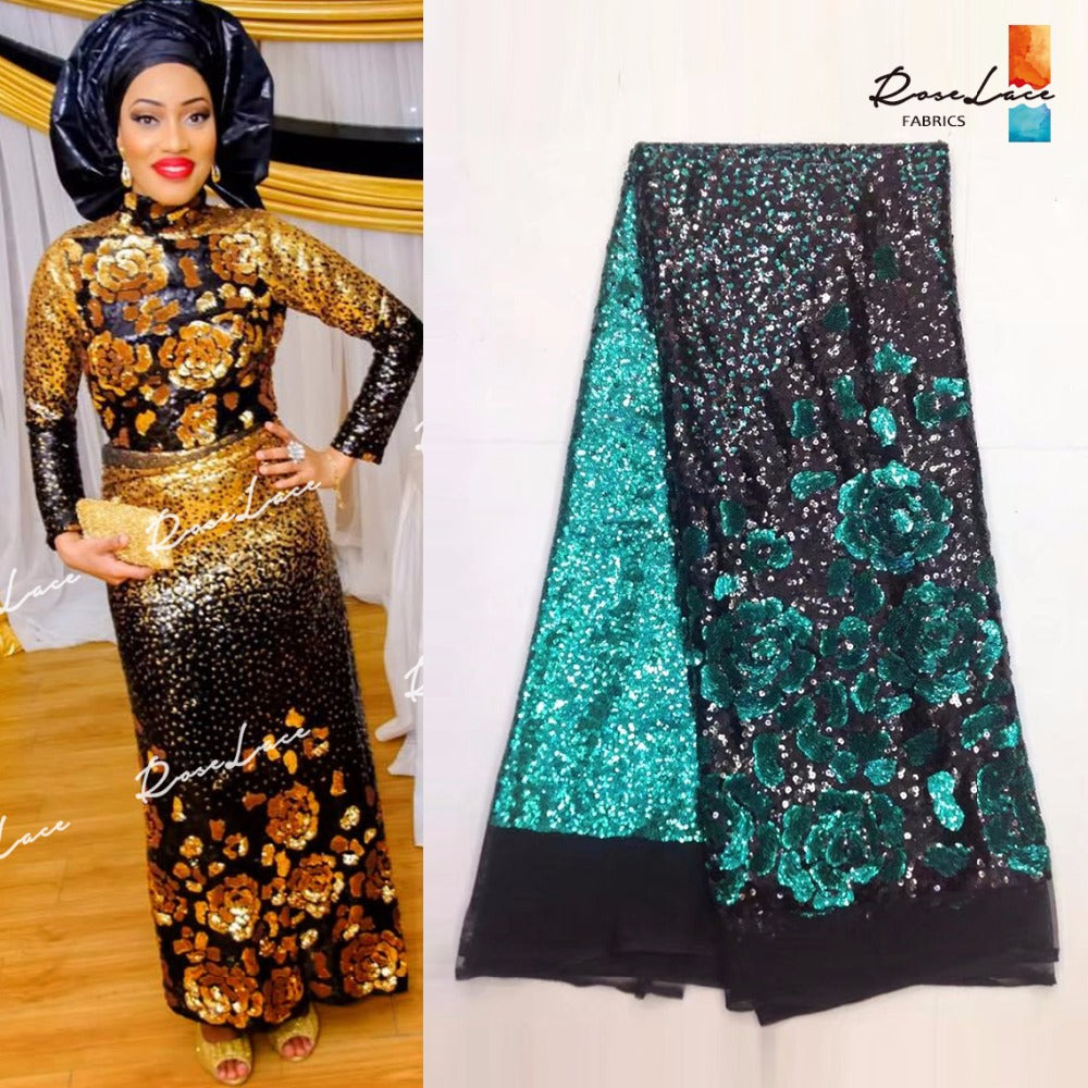 Flower Sequined Style African Mesh Tulle Net Lace Gold Sequins Party ...