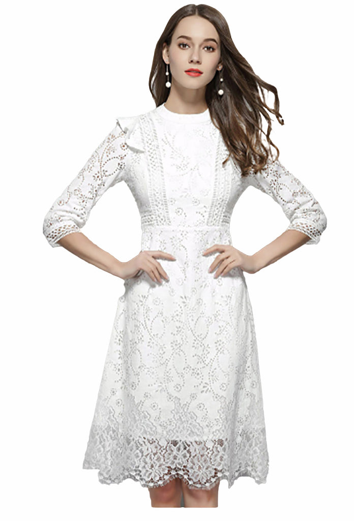 Flying ROC autumn women slim casual dress knee length lady white lace dress  A line hollow out femme dresses