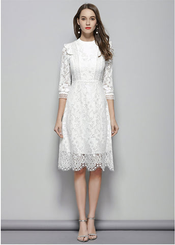 ca1d0daf5e3 ... Image of Flying ROC autumn women slim casual dress knee length lady  white lace dress A ...