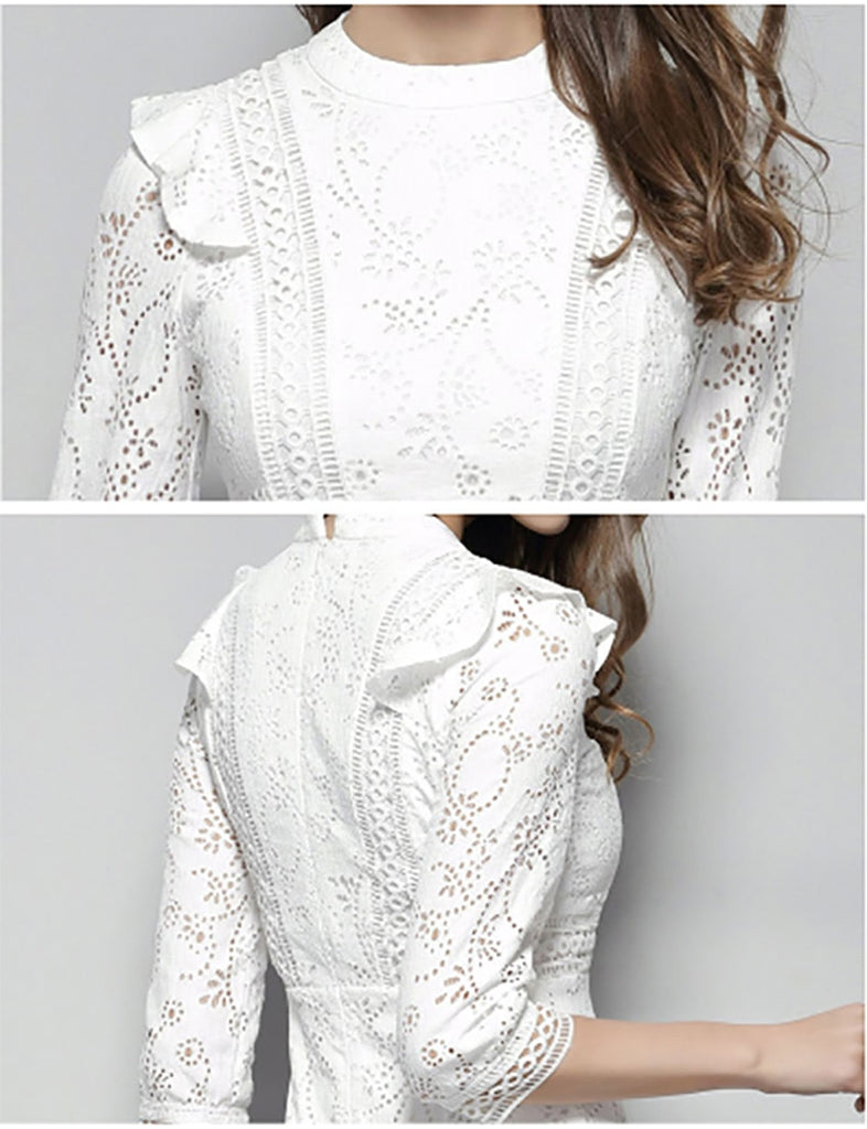 4b8eaef6fcc Flying ROC autumn women slim casual dress knee length lady white lace dress  A line hollow. Hover to zoom