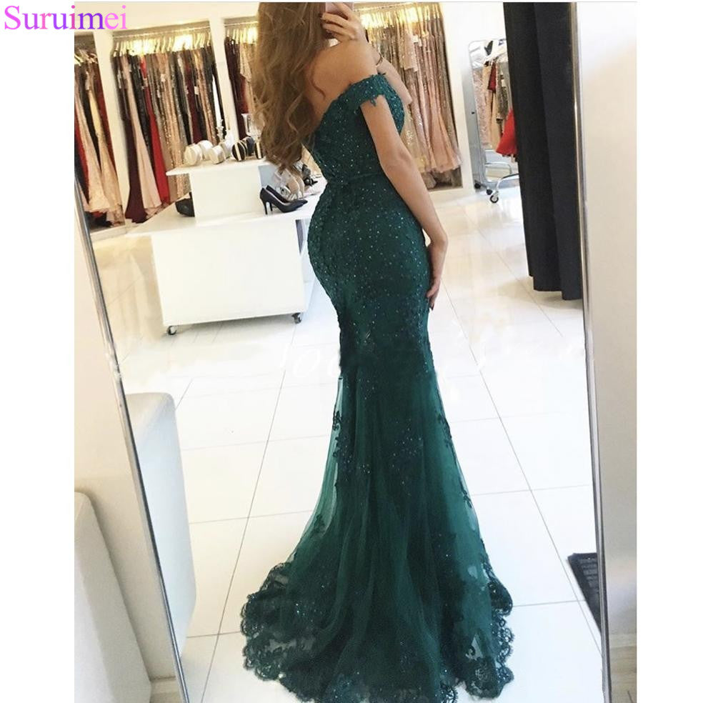 63d4772c532b Formal Evening Gowns 2018 Lace Appliques Beaded Mermaid Red Long ...