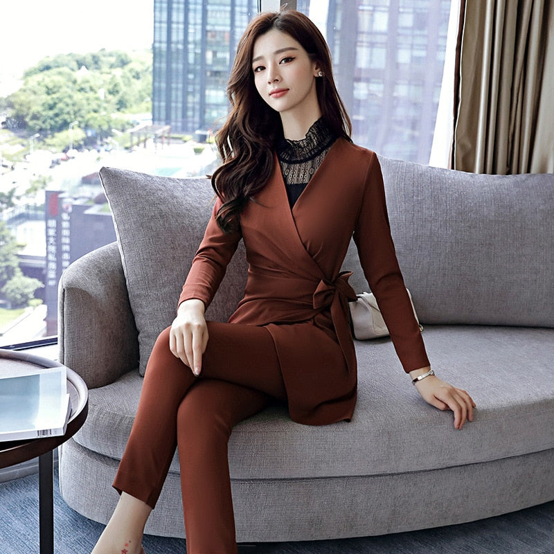8357f6c513 Formal Ladies Office OL Uniform Designs Women elegant Business Houndstooth pant  Suits Work Wear Jacket with. Hover to zoom