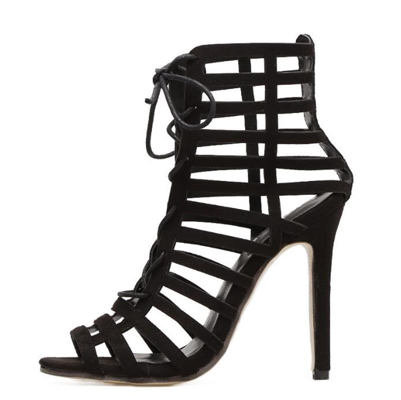 e4115374f97 FragrantLily Rome Gladiator High Heels Sandals Women Sexy Stiletto Sandal  Fashion Design Open Toe Lace Up Pumps Shoes Woman