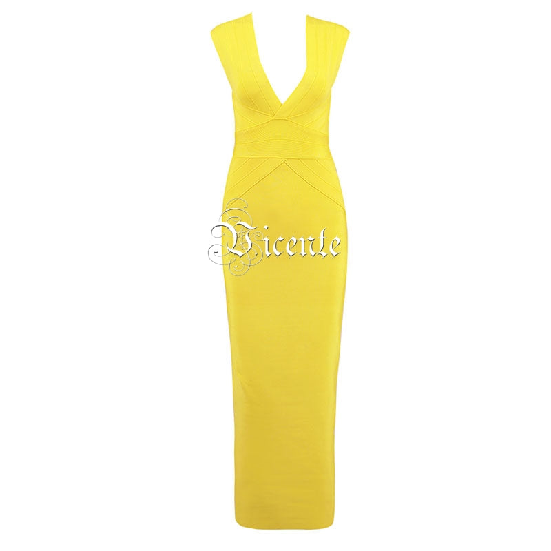 e85e7f706e Free Shipping! 2018 New Fashion Elegant Yellow Sexy Deep Vneck Sleeveless  Celebrity Wholesale Bandage Maxi Long Dress