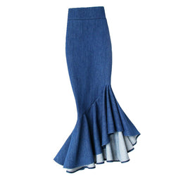 Free Shipping 2019 Fashion Long Mid-calf Skirt Denim Women Plus Size S-4XL Mermaid Style Stretch Ladies High Waist Ruffles Skirt