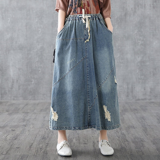 look good shoes sale cute buying cheap Free Shipping 2019 New Cotton Denim Long Mid-calf Skirts For Women Summer  Spring Elastic Waist A-line Pockets Skirts With Holes