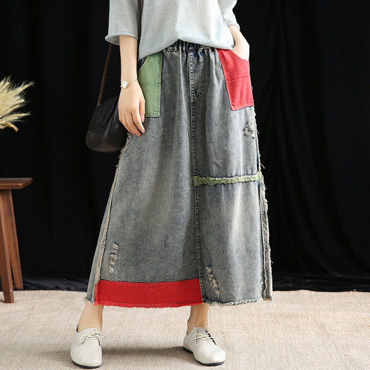 exquisite style cozy fresh sports shoes Free Shipping 2019 New Cotton Denim Long Mid-calf Skirts For Women Summer  Spring Elastic Waist A-line Pockets Skirts Appliques