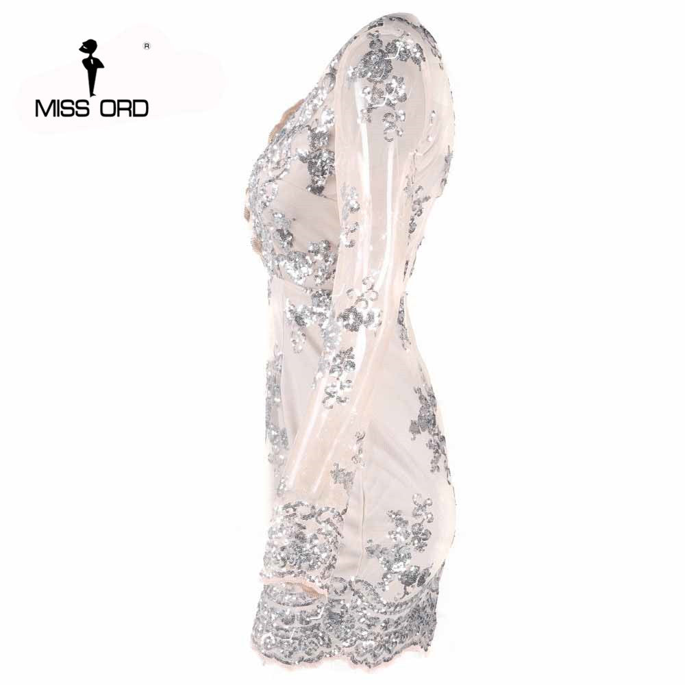 c6a49786 ... Free Shipping Missord 2018 Sexy deep v long-sleeved tight retro sequin  Dress FT3580 ...