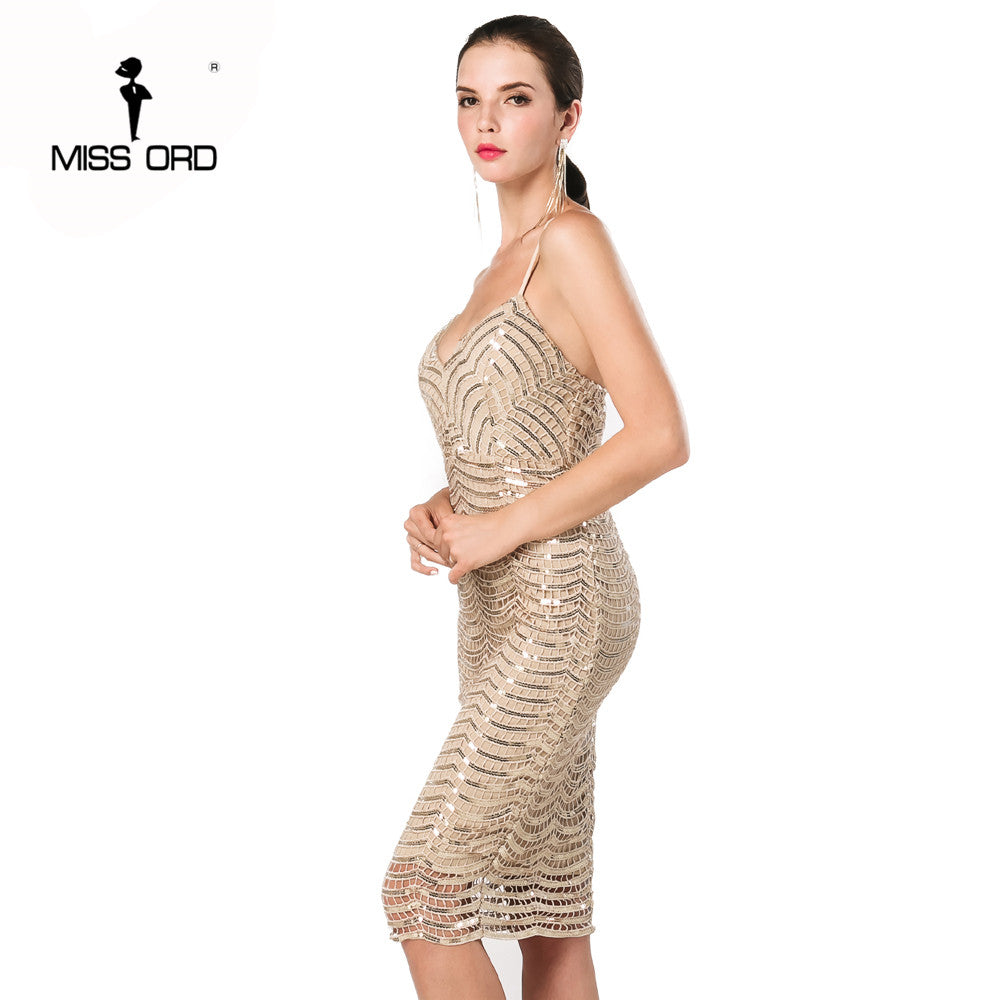 6a3ff981bc9a ... Free Shipping Missord 2018 Sexy v-neck sleeveless halter sequin dress  FT4669 ...