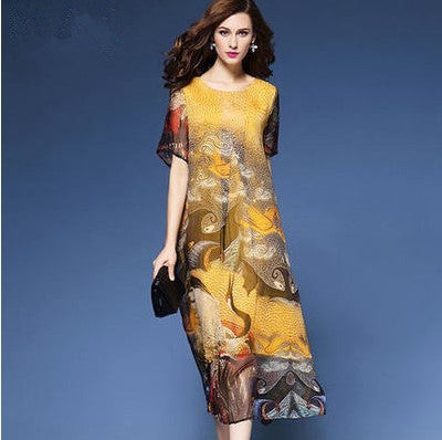 5b050897112e2 Free Shipping National style Loose Floral Print Imitation of silk ...