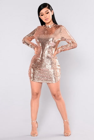 dd22bf0b659 ... Free Shipping Sexy Women O-neck Long Sleeve Bodycon Sequined Party Dress  Backless Novelty Paillette