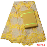 Free Shipping Yellow high quality african swiss voile lace matching aso oke headtie / fabric for evening dress AMY1227B-1