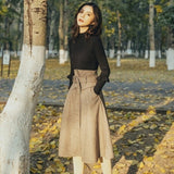 French Women Vintage Slim Fit Turtleneck Sweater High Waist Wool Blends Skirt Two Piece Set Elegant Ladies Outfits Matching Sets