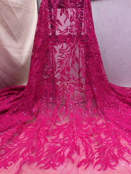 Fuchsia Beautifical Latest French Lace Fabric 2019 Flowr Embroidered Tulle Lace African Fabric With Sequins For Women Clothes X3