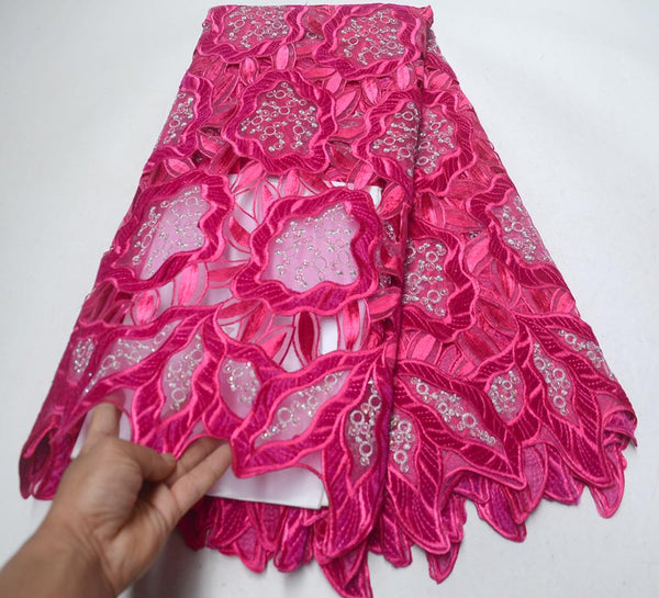 Fuchsia French Lace Fabric High Quality Velvet lace fabric 2019 New Arrival African Sequins Tulle Lace Fabric For Party Dress