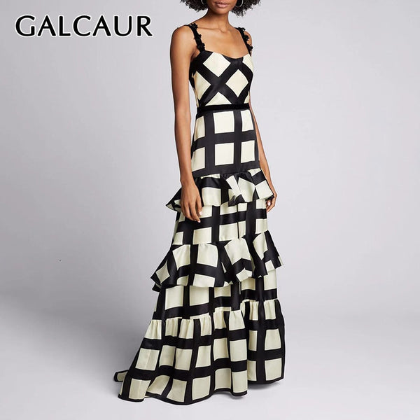 GALCAUR Patchwork Ruffle Lace Plaid Women's Dresses Square Collar Spaghetti Strap High Waist Hit Color Dress Female 2020 Fashion