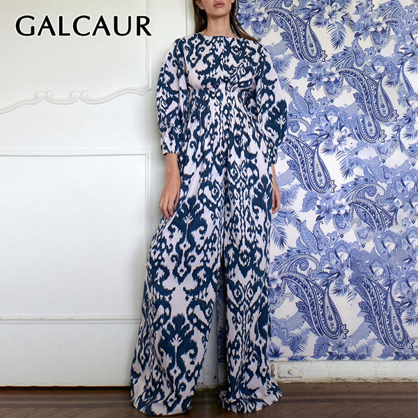 GALCAUR Print Hit Color Jumpsuit Women O Neck Lantern Sleeve High Waist Long Jumpsuits Female 2020 Spring Fashion New Clothes