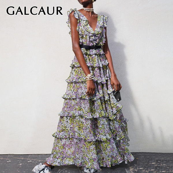 GALCAUR Vintage Print Ruffle Women's Dresses V Neck Tank Sleeveless High Waist Tunic Slim Maxi Dress Female Clothes Fashion 2020