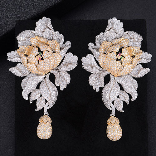 38584e445 ... Zirconia Women Statement Long Drop Earring Wedding Party Bridal. Hover  to zoom