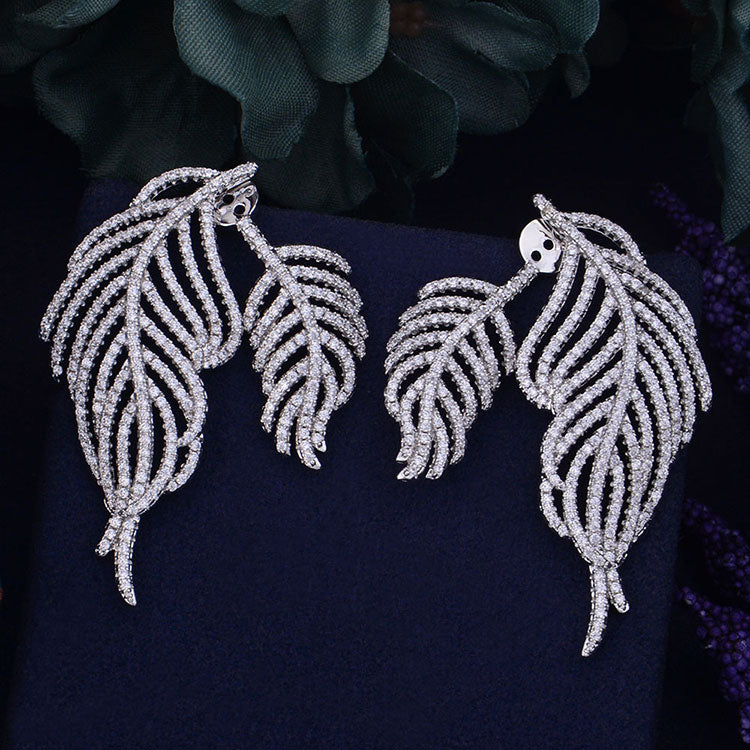 3f91bf99ce GODKI Brand New Fashion Popular Luxury Feather Leaves Collection AAA Cubic  Zirconia Engagement Party Earring Jewelry. Hover to zoom