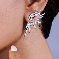 GODKI Elegant Famous Design Leaf Full Mirco Paved Microl Zirconia Wedding Earring Fashion Jewelry