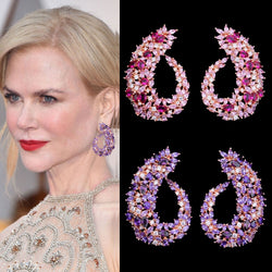 GODKI Famous Design Luxury Popular Geometry Flower Full Mirco Paved Cubic Zirconia Wedding Earring Fashion Jewelry