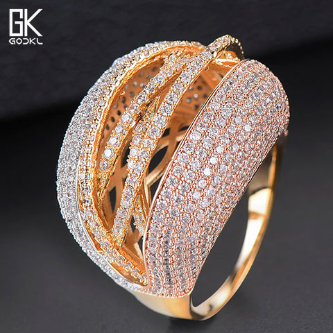 GODKI Luxury Geometry Winding Statement Rings For Women Wedding Crystal Zircon Dubai Bridal Finger Rings Jewelry Addiction 2018