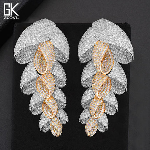 GODKI New Trendy Luxury Feather Leaf Nigerian Long Dangle Earrings For Women Wedding Zirconia Crystal CZ Indian Bridal Earrings