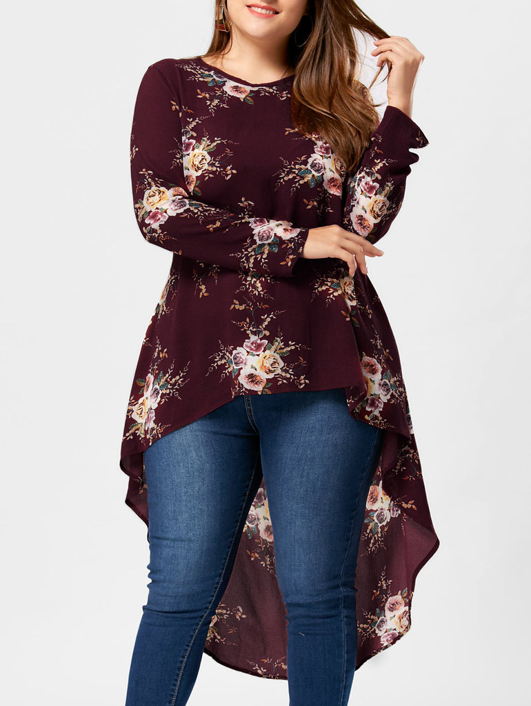 977e35fadcc Hover to zoom · Gamiss Plus Size Floral Print High Low Hem Blouse Shirt  Women Clothing Long Sleeve Asymmetrical Chiffon