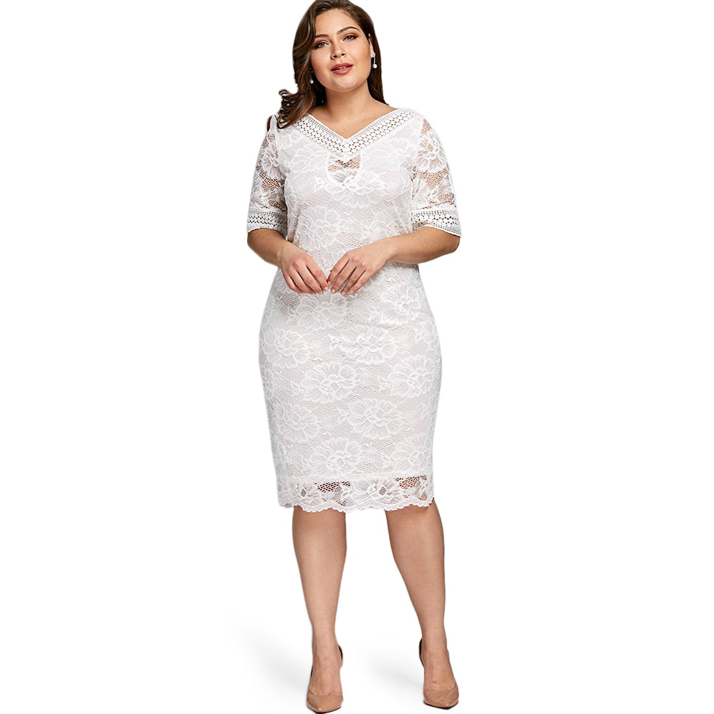 Gamiss Plus Size V Neck Half Sleeve Lace Dress Bodycon 2018 Women Fashion  Sexy Office Club ... fc07f2173187