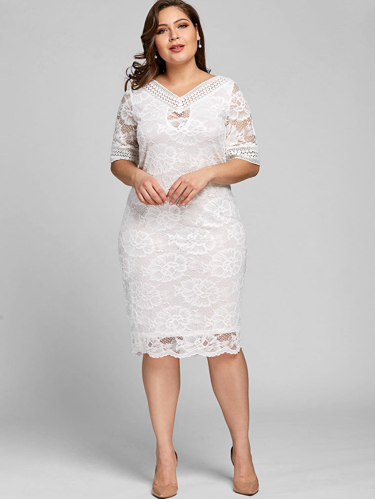 918d9808a15 ... Gamiss Plus Size V Neck Half Sleeve Lace Dress Bodycon 2018 Women  Fashion Sexy Office Club ...