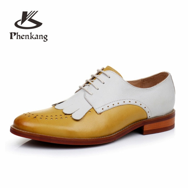 b092a7708e2ed6 Genuine sheepskin leather brogue yinzo ladies flats shoes vintage handmade  sneakers oxford shoes for women 2018 .