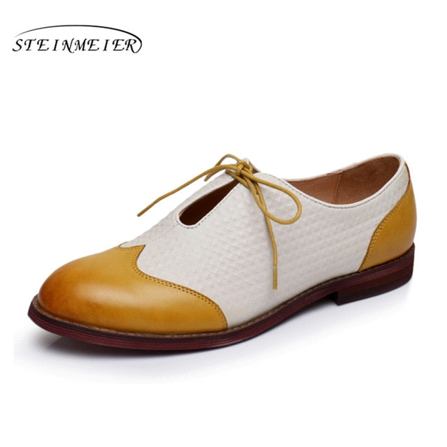 17952c8bc4e5a Genuine sheepskin leather brogues yinzo lady flats casual shoes handmade  vintage oxford shoes for women 2018 green black yellow
