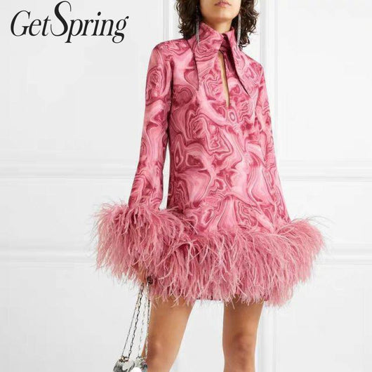 GetSpring Women Dress Long Sleeve Print Dresses Ostrich Feather Stitching Vintage Dress Temperament Party Dresses Autumn Winter