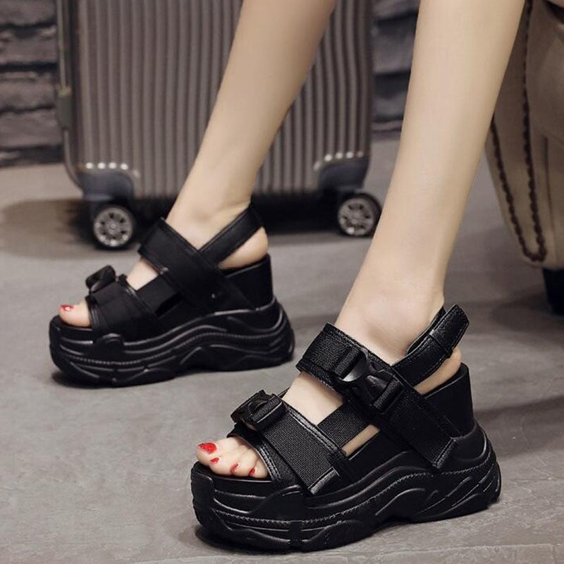 4833fa74e6c5 Hover to zoom · Girl height increasing Beach Sandals shoes woman high heels  wedges Black ...