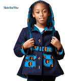 Girls Cowboy Hooded Jackets Bazin Riche African Print Patchwork Coats with Pockets for Kids Children African Clothing WYT317