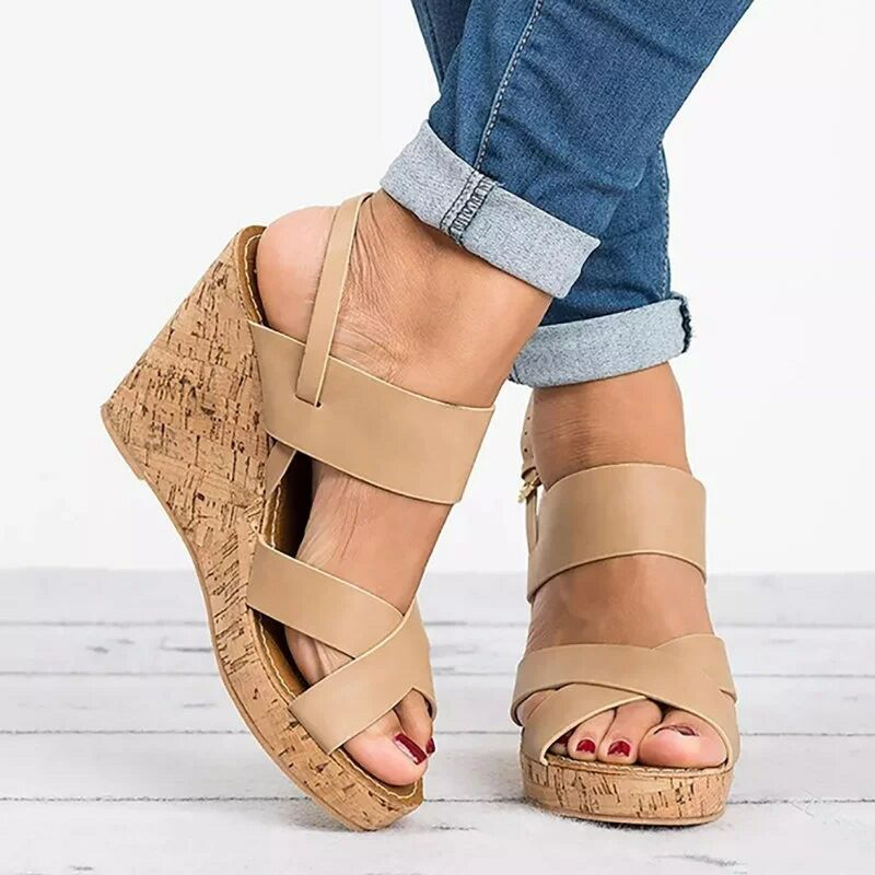 028121b0a0 Hover to zoom · Gladiator Sandals Platform Women Wedges Shoes Female Summer  Ankle Strap Trifle ...
