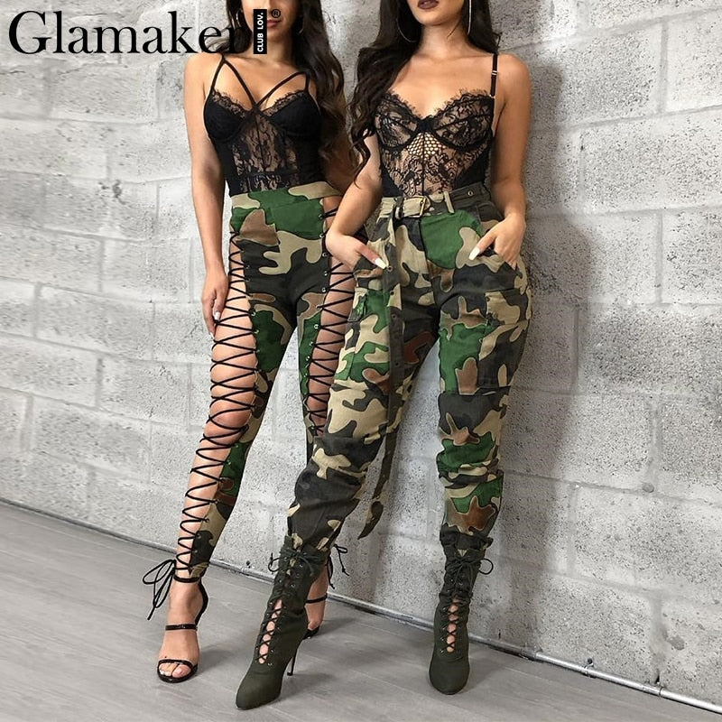 36edb0ccfc Hover to zoom · Glamaker Camo cotton high waist women cargo pants Casual female  sexy fitness ...
