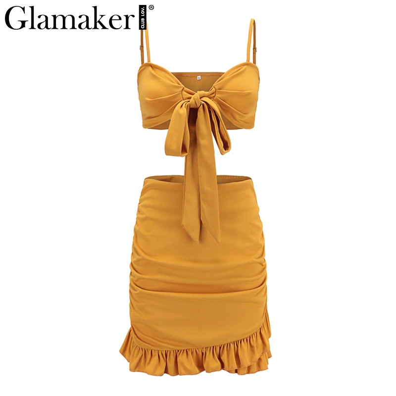 7f9cd05be87e Glamaker Ruffle halter women dress vestidos Sexy v nerk party dress ...