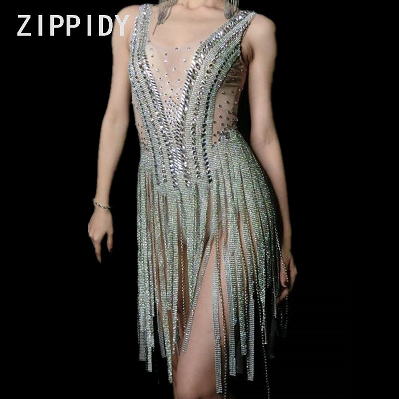 35a80142876 ... Glisten Stones Silver Tassels Perspective Leotard Nightclub Singer Dance  Show Outfit Women s Birthday Party Sexy Bling