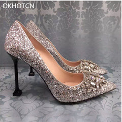 Gliter Bling Gold Silver Sequined Leather Upper Women High Heels Pumps  Crystal Wedding Shoes Woman Gladiators ... 344f5685522b