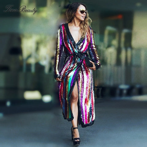 Glitter Rainbow Trench Sashes Sequined Dress Striped Celebrity Long Sleeve Vestidos Verano 2019 Women Maxi Dress Streetwear