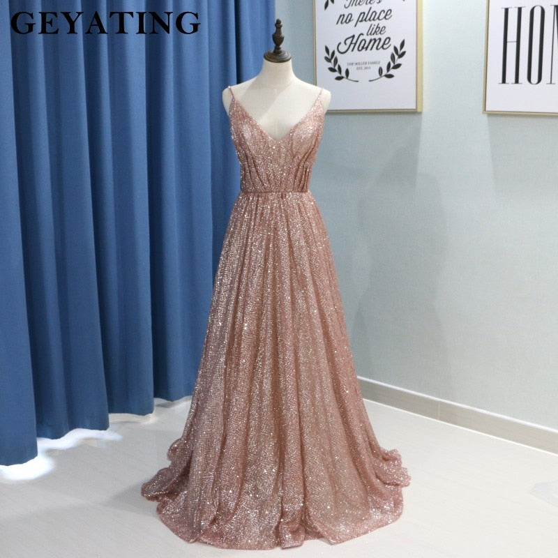 Glitter Rose Gold A Line Prom Dresses 2k19 Sparkly Spaghetti Straps Long Women Formal Party Gowns Pleat Vestidos De Festa New