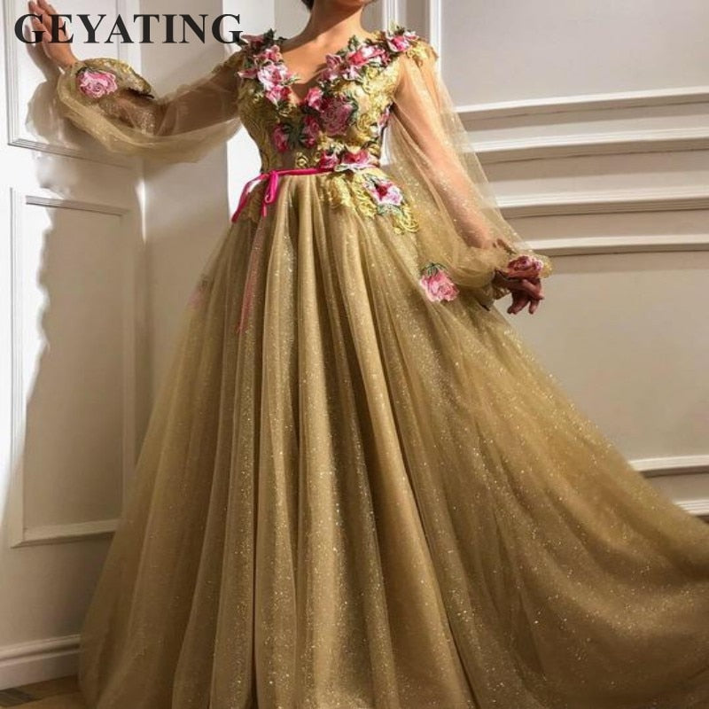 Glitter Tulle Sequin Gold Prom Dresses Long Sleeves V-neck Embroidery Arabic  Evening Gowns Elegant ... bf30446901d9